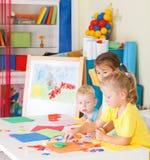 Pre-school children in the classroom Stock Photos