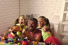 Pre school education. child care center. Halloween family with colorful paint. royalty free stock photography
