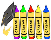 Pre school graduation. Cap hanging from crayons - vector Royalty Free Stock Image