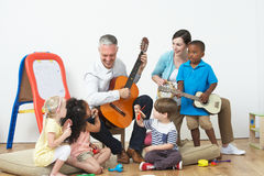 Pre School Music Lesson. Playing Instruments Stock Image
