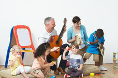 Pre School Music Lesson. With The Populs royalty free stock photos