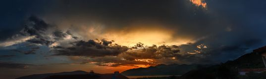Sunset over the mountains of Kotor bay. royalty free stock images