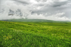 Pre-storm weather in the field. Beautiful dramatic landscape with low dark clouds and a green field stock images