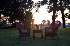 A delta dawn for two on the lawn at Belmont antebellum Plantation royalty free stock photo
