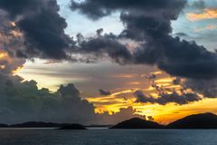 Pre-sunrise skies over Torres Straits Islands Archipelago, Australia stock images