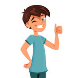 Pre-teen approoving. Pre-teen smiling and doing ok sign Royalty Free Stock Images