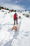 Pre-teen Boy Pulling A Sled In The Snow stock photos