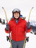 Pre-teen Boy On Ski Vacation Stock Photos