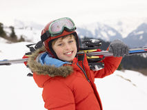 Pre-teen Boy On Ski Vacation Royalty Free Stock Photo