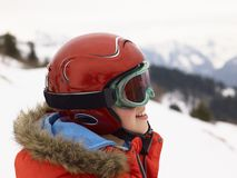 Pre-teen Boy On Ski Vacation Stock Images