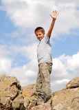 Pre-teen boy at a summit Royalty Free Stock Photo