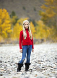 Pre-Teen Girl Alone Outdoors Stock Image