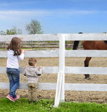 Pre-teen girl and Baby boy on the a white picket f. Ence beside the horse Royalty Free Stock Images