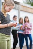 Pre Teen Girl Being Bullied By Text Message Royalty Free Stock Images