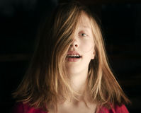 Pre-teen girl with braces Royalty Free Stock Images