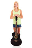 Pre teen girl guitar Stock Photos