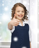 Pre-teen girl showing thumbs up. Family, children, christmas, x-mas, love concept - beautiful pre-teen girl showing thumbs up Royalty Free Stock Photos
