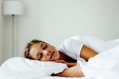 Pre teen girl sleepeng. Pre teen kid girl sleeping in the bed. Tired school girl dreaming in the morning Royalty Free Stock Photos