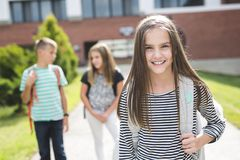 Pre-teen School Pupils Outside of the Classroom Stock Photo