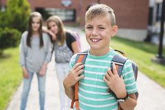 Pre-teen School Pupils Outside of the Classroom Royalty Free Stock Photos