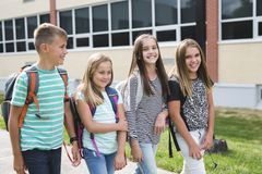 Pre-teen School Pupils Outside of the Classroom Stock Photography