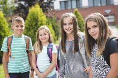 Pre-teen School Pupils Outside of the Classroom Stock Photos