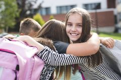 Pre-teen School Pupils Outside of the Classroom Royalty Free Stock Images