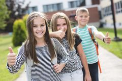Pre-teen School Pupils Outside of the Classroom Royalty Free Stock Photo