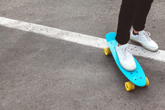 Pre teen skater on the city street Royalty Free Stock Photography