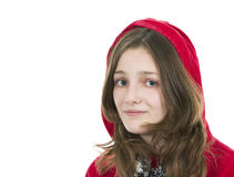 Pre teen girl in a red hooded top Royalty Free Stock Photos