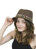 Pre teen girl wearing a brown hat Stock Photos
