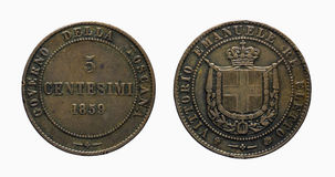 Pre-unificação 1859 de Vittorio Emanuele da moeda de cobre do couve-de-milão de cinco 5 liras dos centavos de Itália com referênc Imagem de Stock Royalty Free