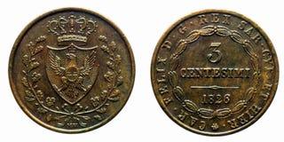 Pre-unificación 1826 de Turín Carlo Felice de la moneda de cobre de la col rizada de tres liras de los centavos de Italia Fotografía de archivo libre de regalías