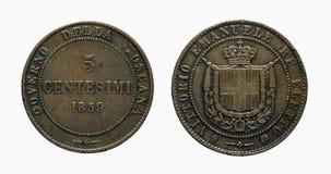 Pre-unificación 1859 de Vittorio Emanuele de la moneda de cobre de la col rizada de cinco 5 liras de los centavos de Italia con r Imagen de archivo libre de regalías