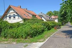 The pre-war housing estate on Sovetskaya Street. Settlement Amber, Kaliningrad region.  Stock Photos