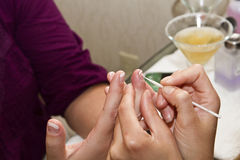 Pre-wedding manicure Stock Photography