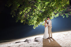 Pre wedding outdoor romantic. Sunset beach dress romance girlfriend boyfriend Stock Photo