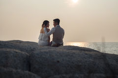 Pre wedding outdoor romantic. Sunset beach dress romance girlfriend boyfriend Royalty Free Stock Photos