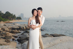 Pre wedding outdoor romantic. Sunset beach dress romance girlfriend boyfriend Stock Images