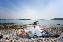 Pre Wedding photo of romantic Thai couple on seaside. Pre Wedding photo of romantic Thai couple on seaside in concept of travel love or family life Stock Photos