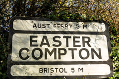 Pre-worboys old road sign for Easter Compton including Aust Ferr Stock Image
