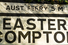 Pre-worboys old road sign for Easter Compton including Aust Ferr Stock Photos