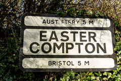 Pre-worboys old road sign for Easter Compton including Aust Ferr Stock Photography