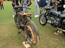 Pre-world war 1 harley belt system. Pre-world war 1 motorcycle belt system. rear side view. 1910 Harley Davidson model 6 single cylinder belt drive motorcycle in Stock Images