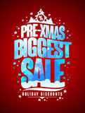 Pre-xmas biggest sale design concept, new year and christmas holidays discounts Royalty Free Stock Image