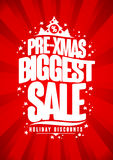 Pre-xmas biggest sale poster, winter holidays discount. Royalty Free Stock Photos