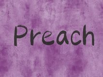 Preach. Concept word on watercolor paper texture background stock photo
