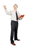 Preacher. Talking preacher isolated over white background royalty free stock image