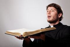 Preacher with bible royalty free stock images