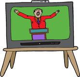 Preacher on TV. Loud preacher man in red on television Royalty Free Stock Photo
